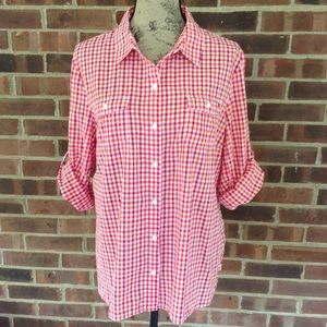 Like new Tommy Hilfiger red white plaid shirt
